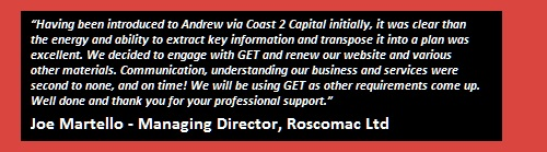 Roscomac client testimonial for GET Consultants